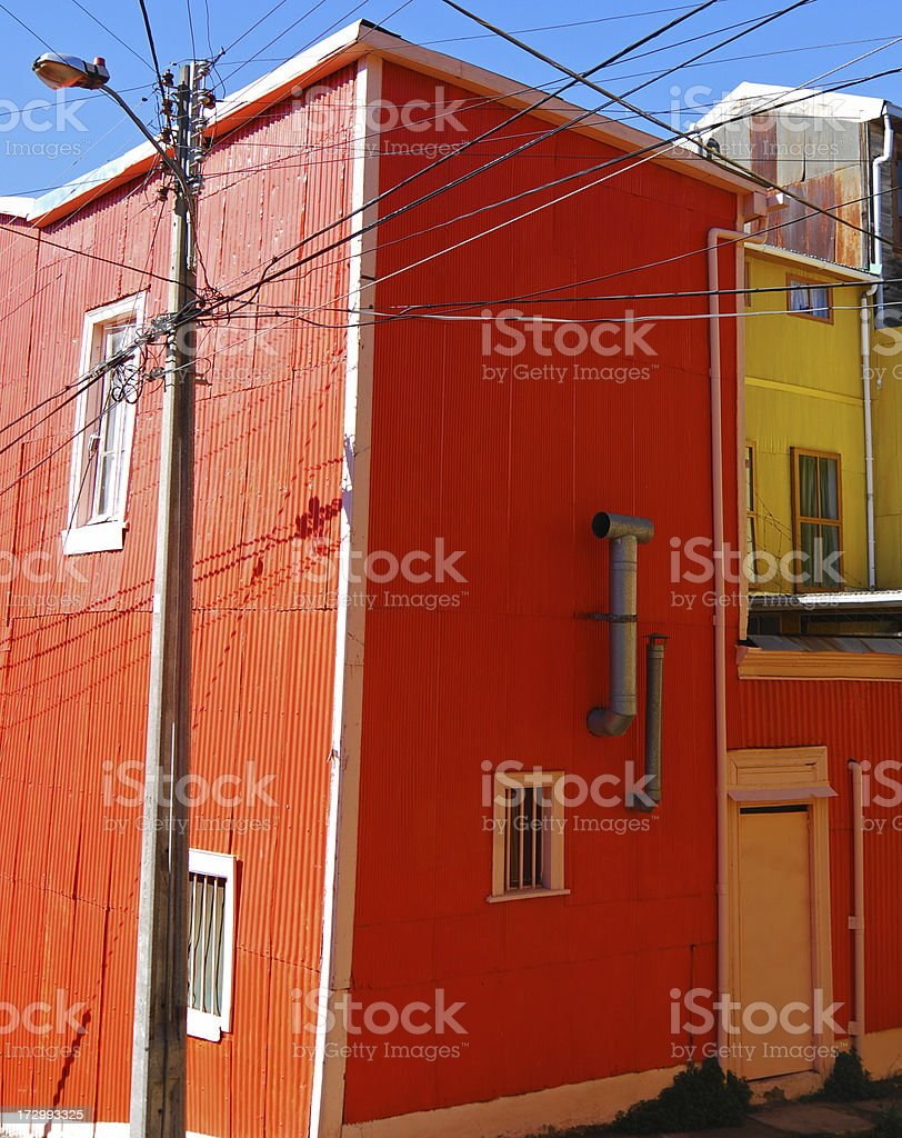 Red house in Valparaiso royalty-free stock photo