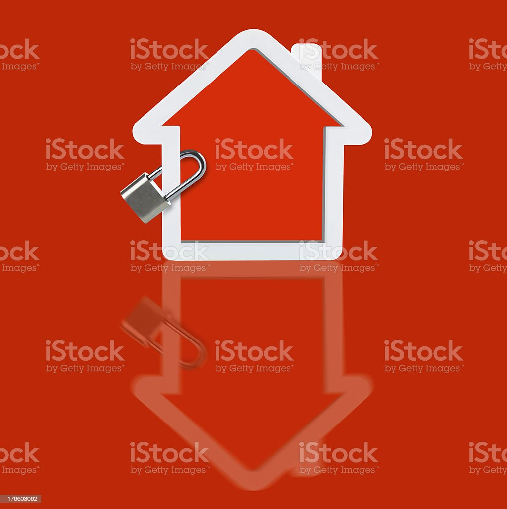 Red house Locked royalty-free stock photo
