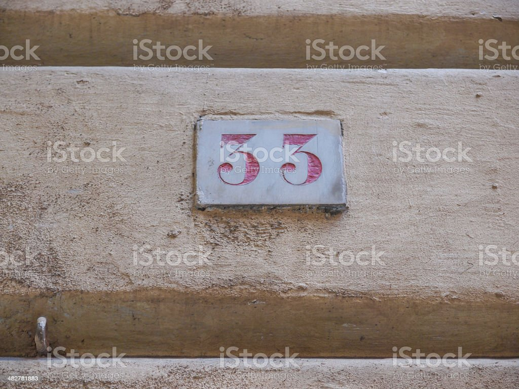 Red house number stock photo