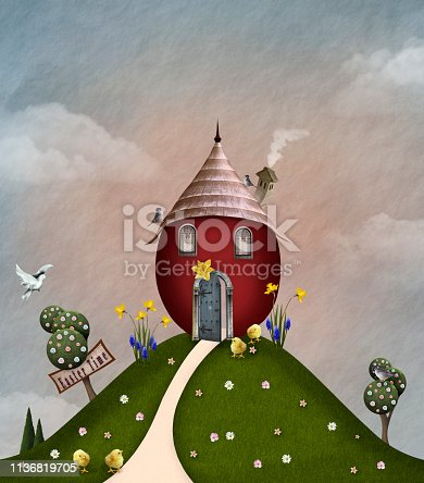 Easter celebration series: red house on a grassy hill with lots of meadow flowers – 3D illustration
