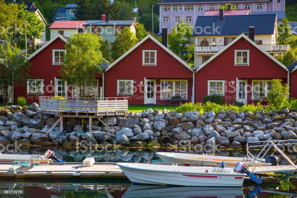 Rote Häuser in Norwegen – Foto