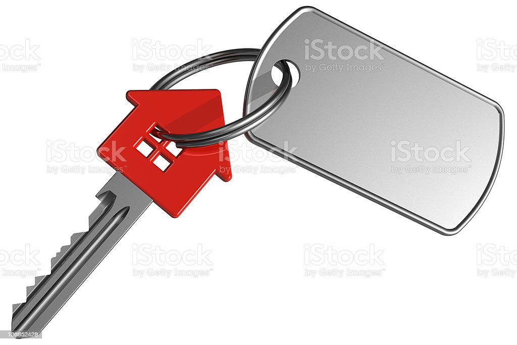 Red house-shape key with label stock photo