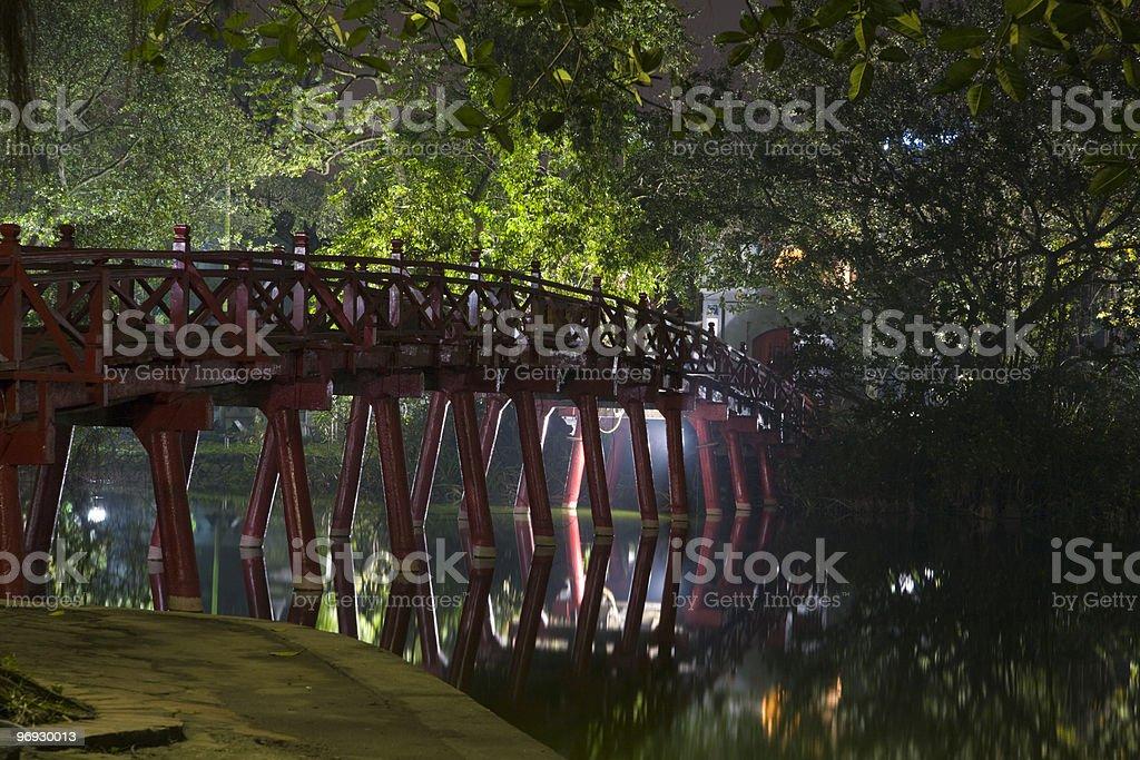 Red Huc bridge in Hanoi royalty-free stock photo