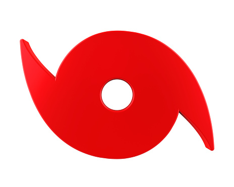 Red Hurricane Symbol isolated on white background. 3D render