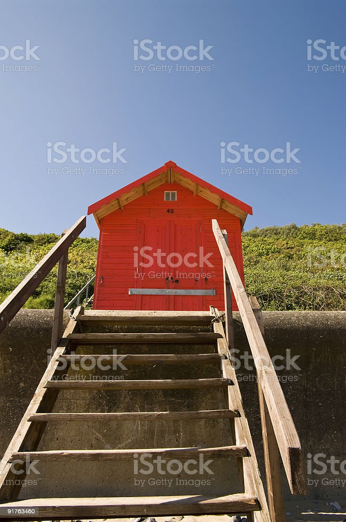 Red hut and steps stock photo