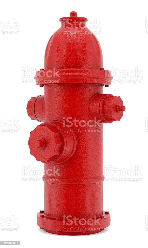 red hydrant isolated on white background stock photo
