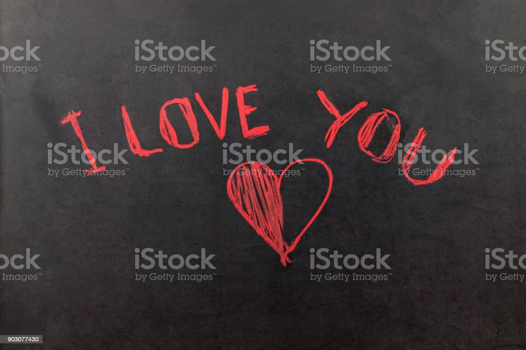 Red I Love You Greeting Message With Heart Symbol On Blackboard