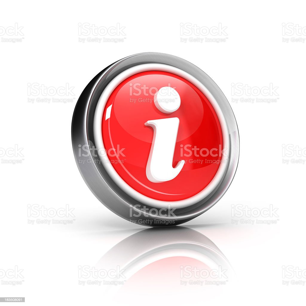 Red information button icon on a white background stock photo