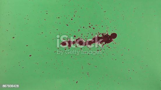 istock Red Ink Splatter Over Green Screen Background 867936428