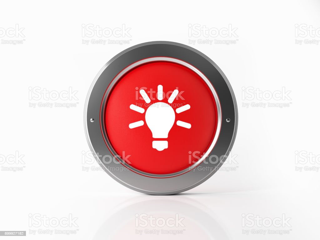 Red Innovation Icon With A Silver Frame On White Background stock photo