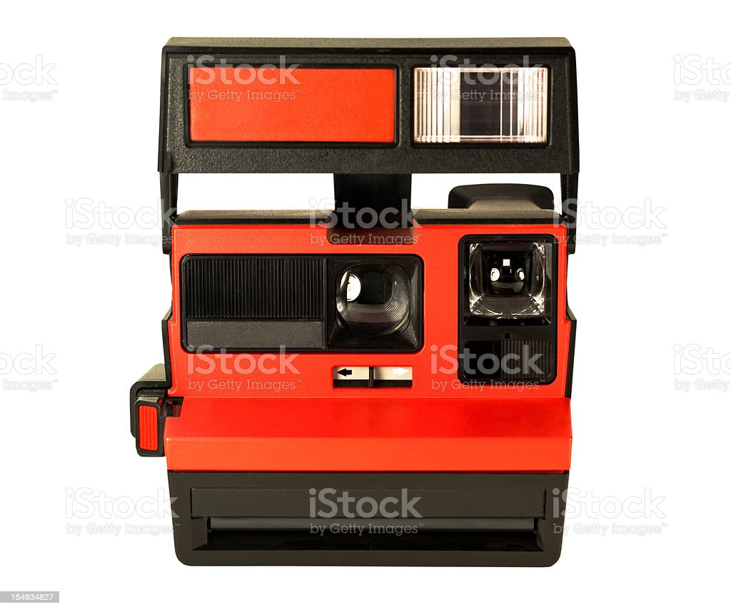 Red Instant Camera isolated on White royalty-free stock photo