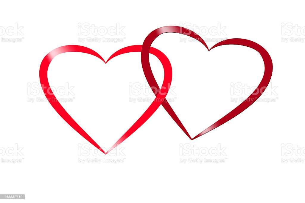 red intertwined heart illustration for valentine and wedding stock photo