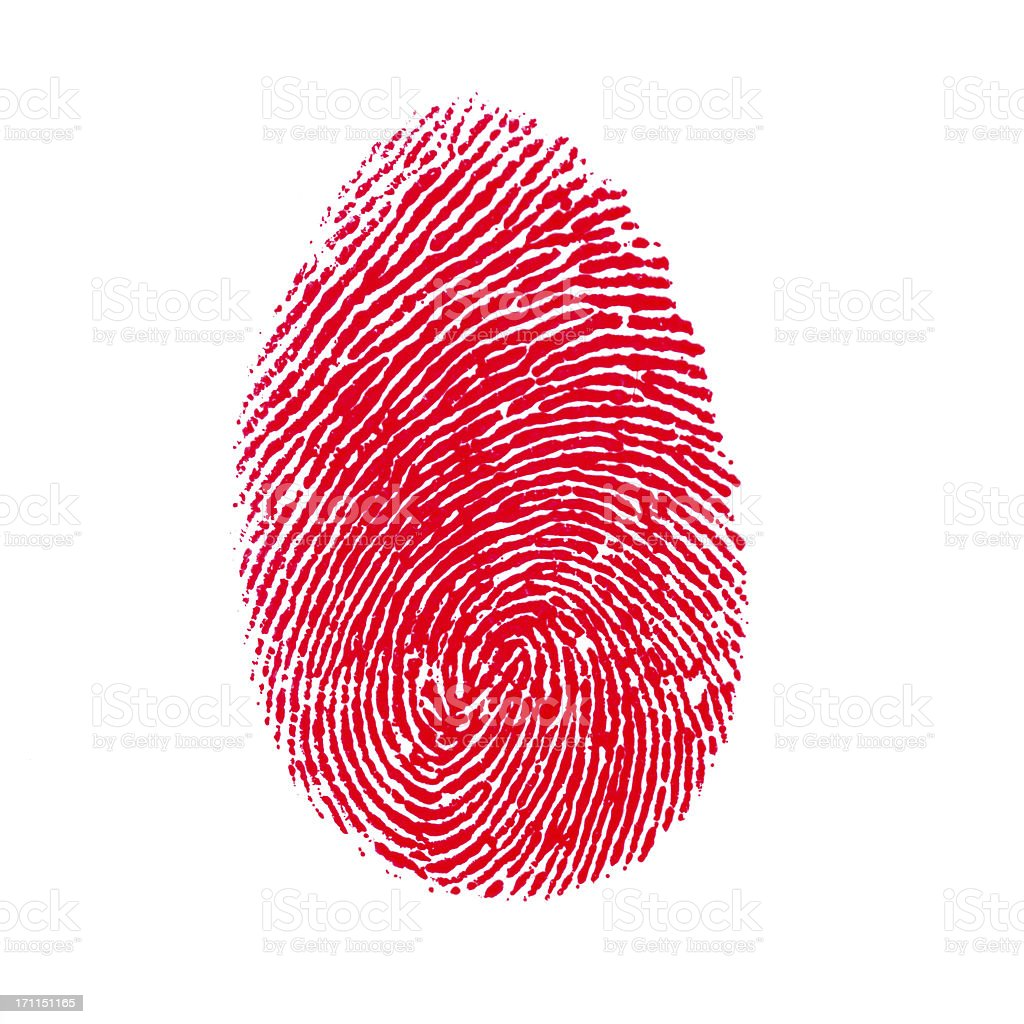 Red Isolated Fingerprint On White Background royalty-free stock photo