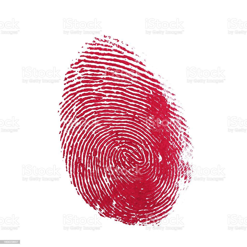 Red Isolated Fingerprint On White Background royalty-free stock photo
