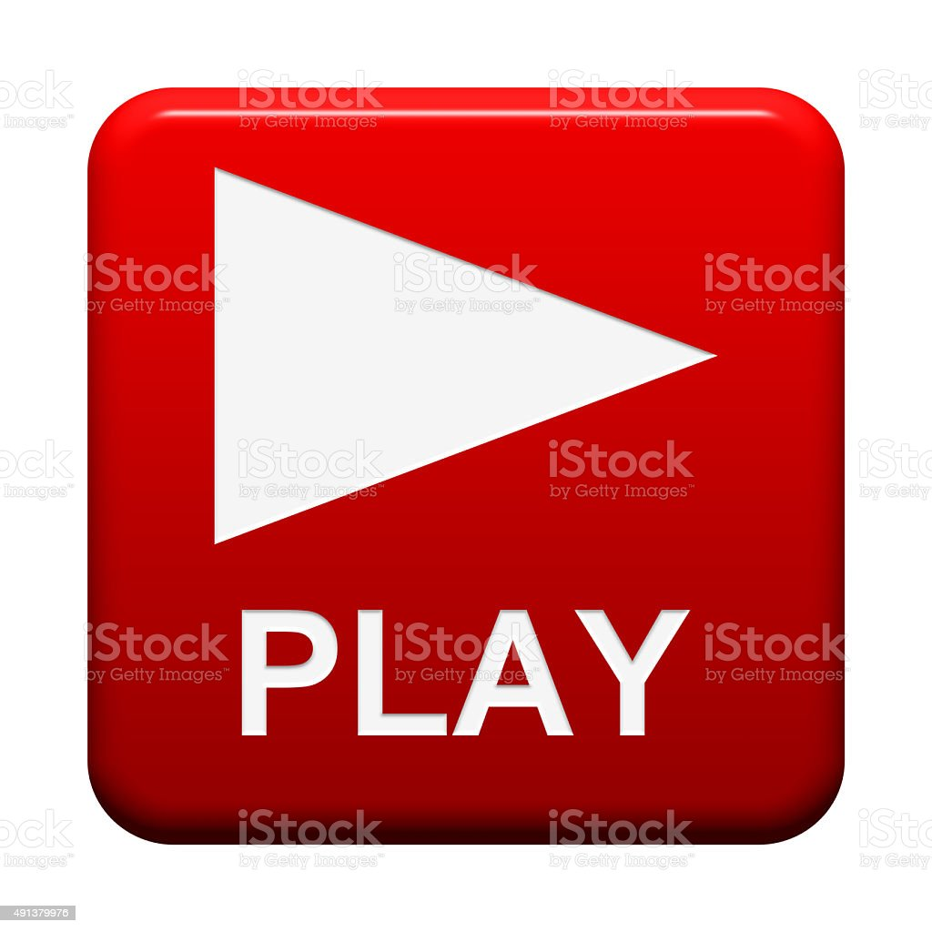 Red isololated Button Play stock photo
