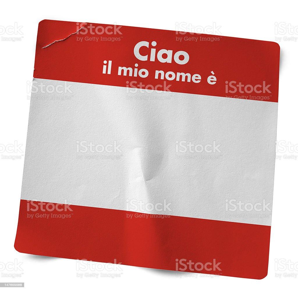 Red Italian Name Tag royalty-free stock photo