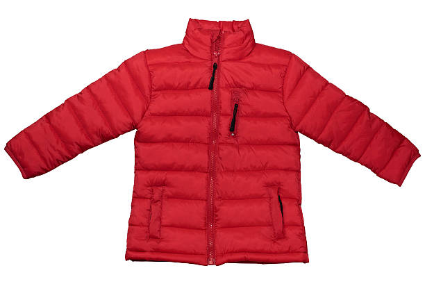 Red jacket isolated on white background. Clipping path - foto de stock