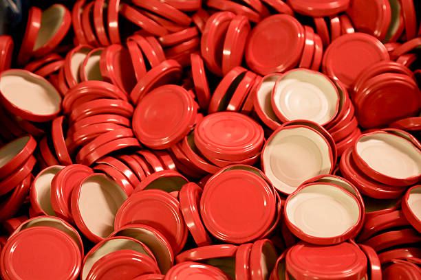 Red  jar lids stock photo