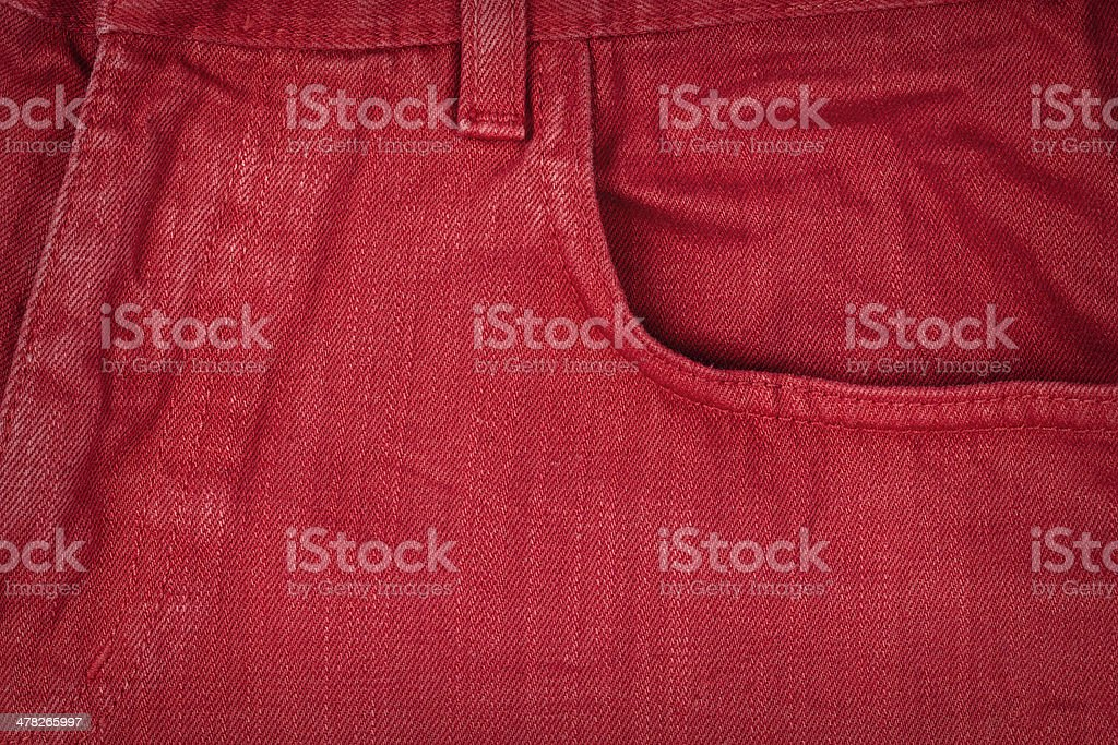 Red jeans fabric with pocket royalty-free stock photo