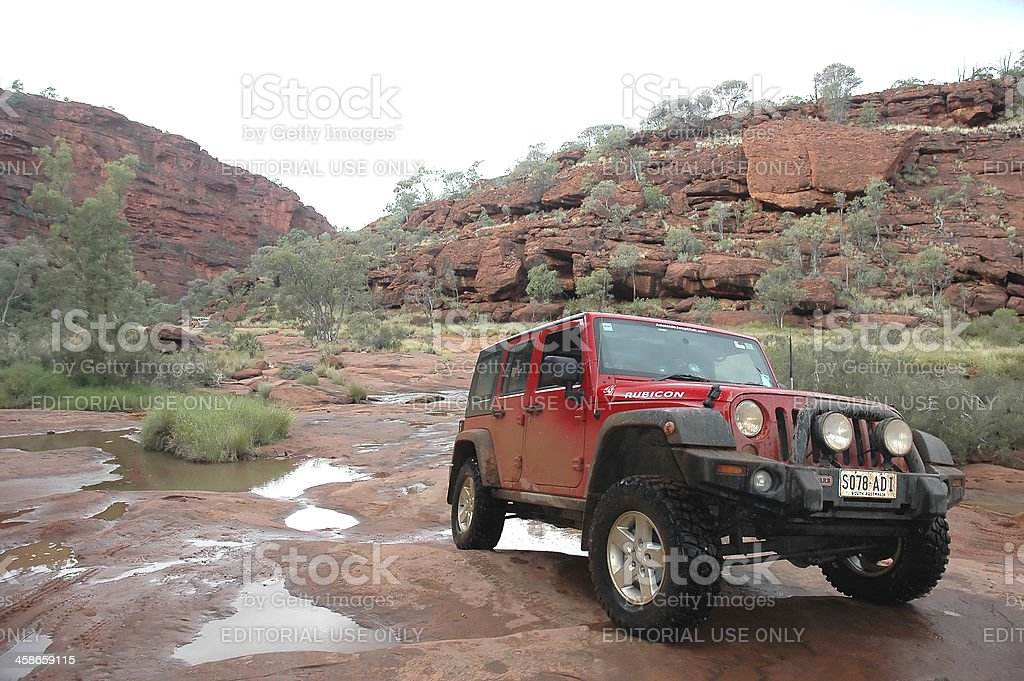 Red Jeep Wrangler, 4x4, 4wd, offroad, Palm Valley, Northern Territory royalty-free stock photo