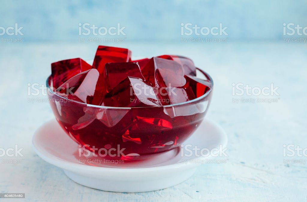 Red Jelly Cubes stock photo
