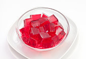 istock Red jelly in a glass bowl 183866146