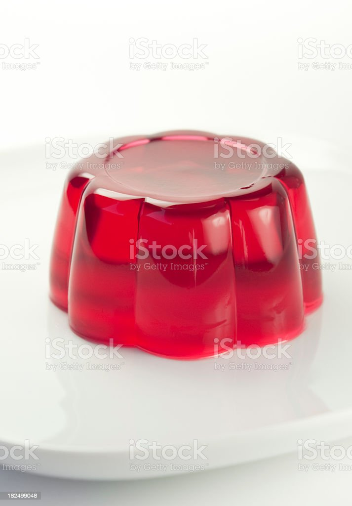 Red jelly on a white plate royalty-free stock photo