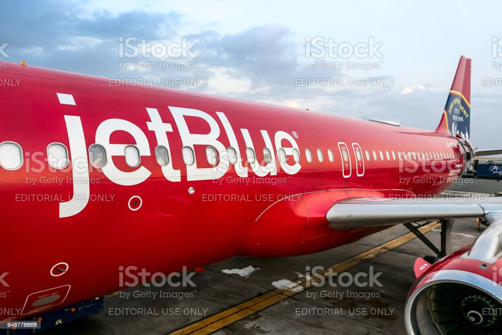 Red Jetblue Plane Stock Photo More Pictures Of Aerospace Industry