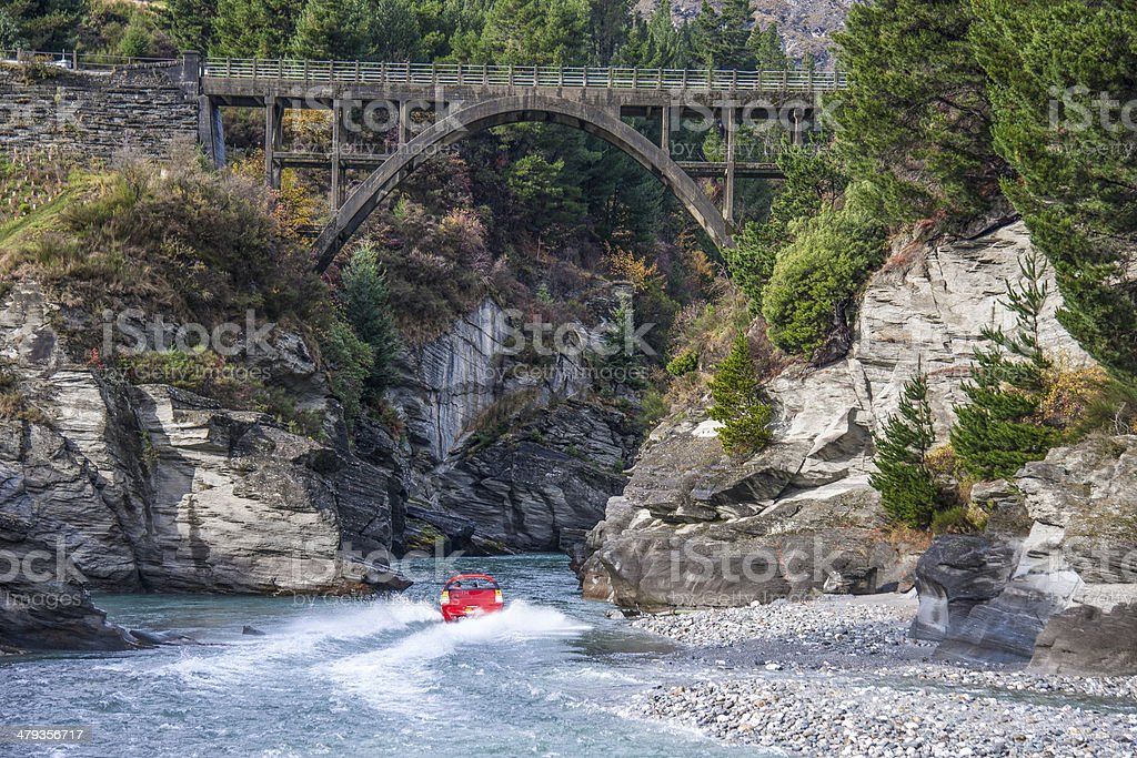 Red Jetboat on the Shotover River stock photo