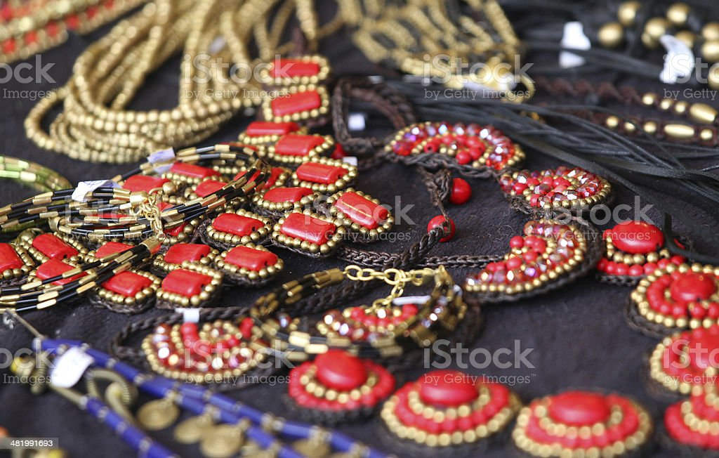 red jewelry in style and in vintage style stock photo
