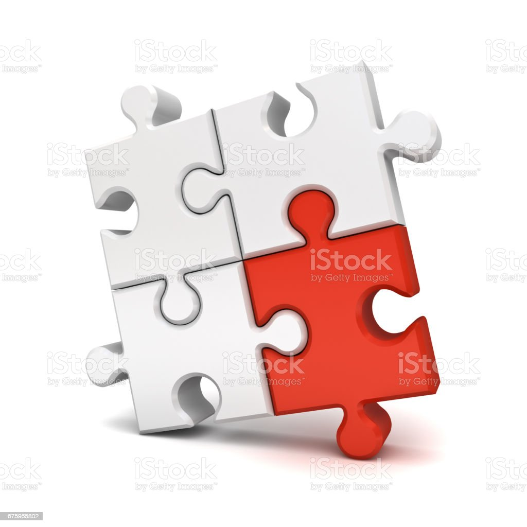 Red jigsaw puzzle piece stand out from the crowd different concept isolated on white background with shadow stock photo