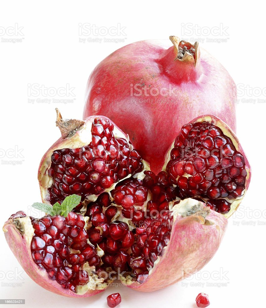 red juicy ripe organic pomegranate fruit royalty-free stock photo