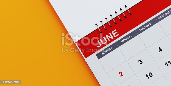 istock Red June 2019 Calendar On Yellow Background 1125797552