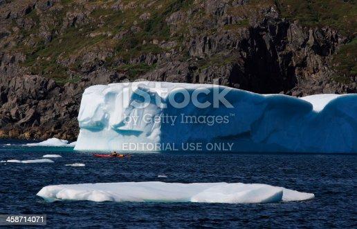 istock Red Kayak Among Icebergs 458714071