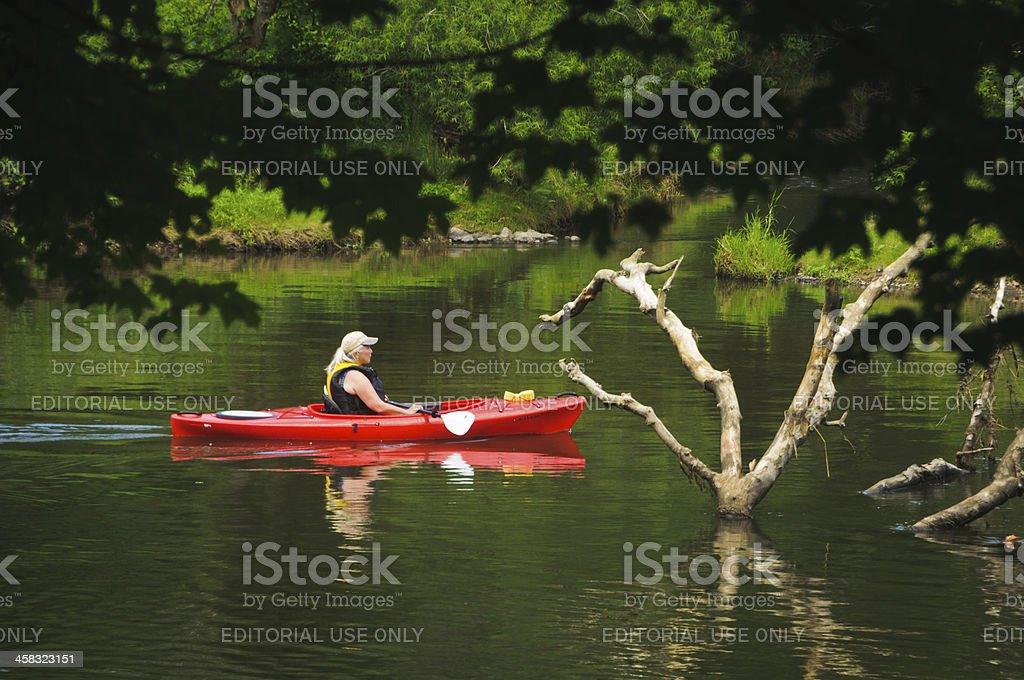 Red Kayak on the Blackstone River royalty-free stock photo