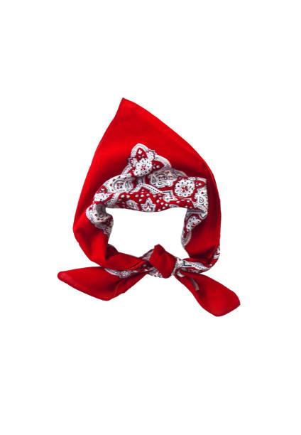 red kerchief bandana with a pattern, isolated - lenço do pescoço imagens e fotografias de stock
