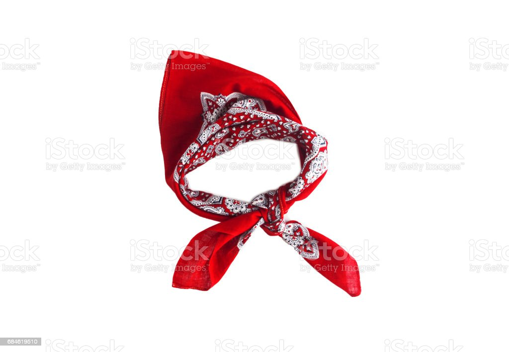 Red kerchief bandana with a pattern, isolated stock photo