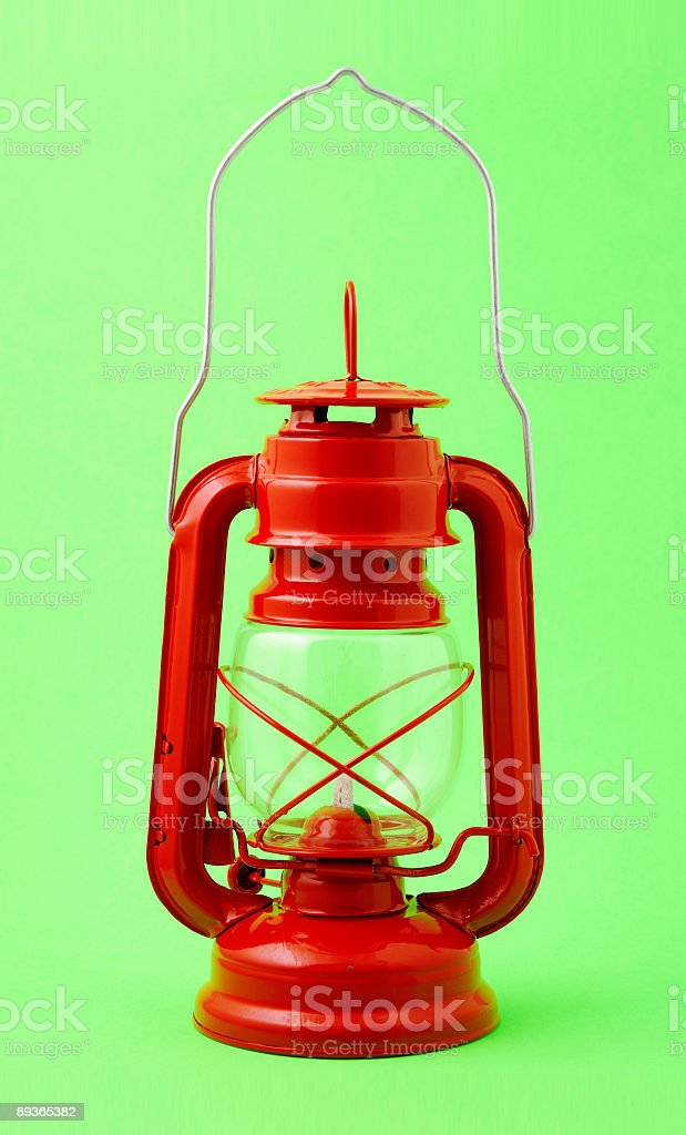 red kerosene lamp royalty-free stock photo