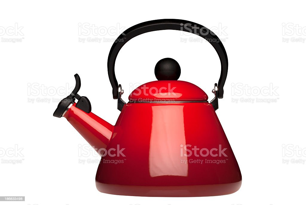 Red kettle with black handle and clipping paths stock photo