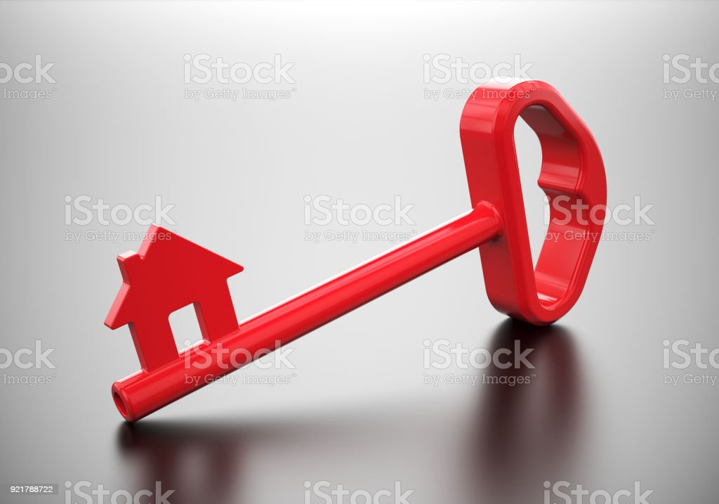 Red key with house symbol stock photo