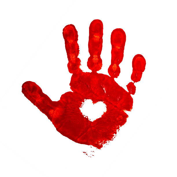 Bloody Handprint Drawing Stock Photos Pictures Royalty