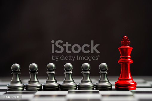 Red king chess with others black pawn chess for leader and different thinking.Disrupt concept.