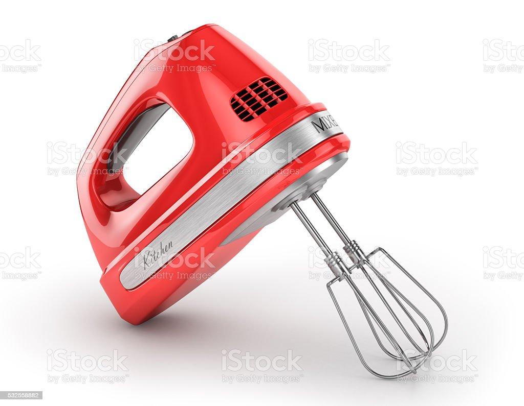Red kitchen mixer. stock photo