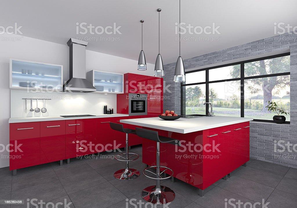 Red kitchen stock photo