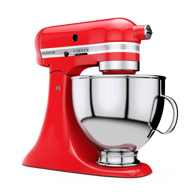 Red Kitchen Stand Food Mixer. 3d Rendering Red Kitchen Stand Food Mixer on a white background. 3d Rendering electric mixer stock pictures, royalty-free photos & images
