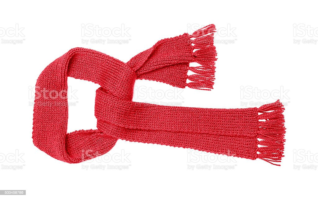 Red knitted scarf isolate stock photo