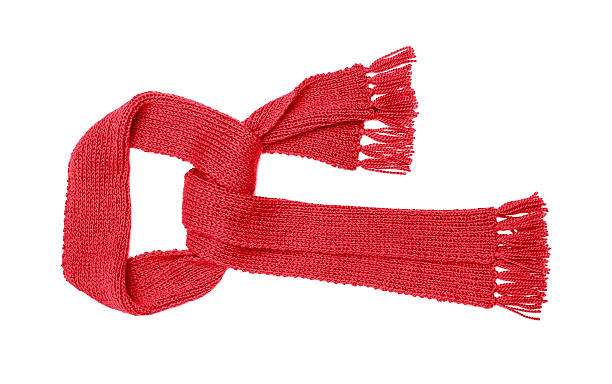 Red knitted scarf isolate Red knitted scarf isolated on white background. headscarf stock pictures, royalty-free photos & images