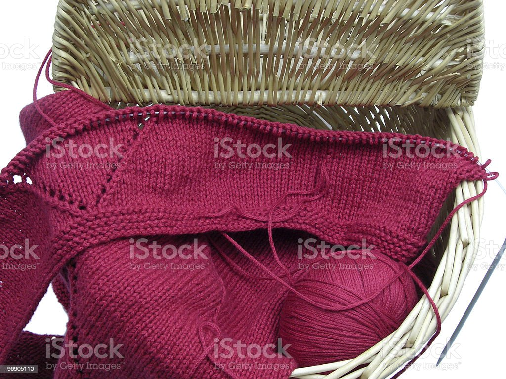 Red knitting royalty-free stock photo