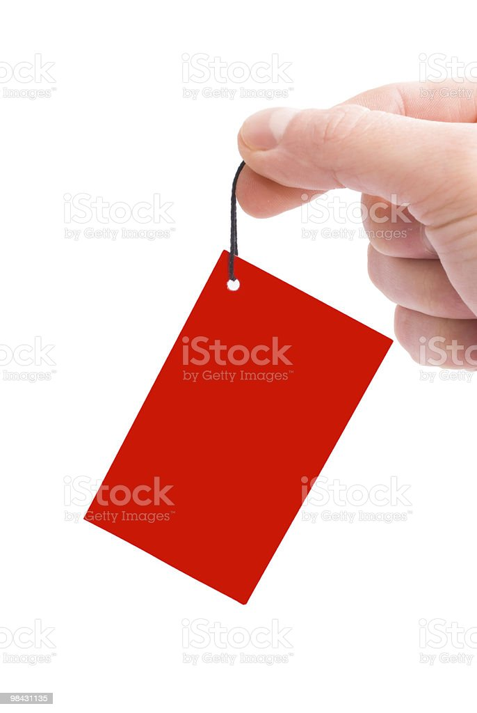 red label in hand royalty-free stock photo