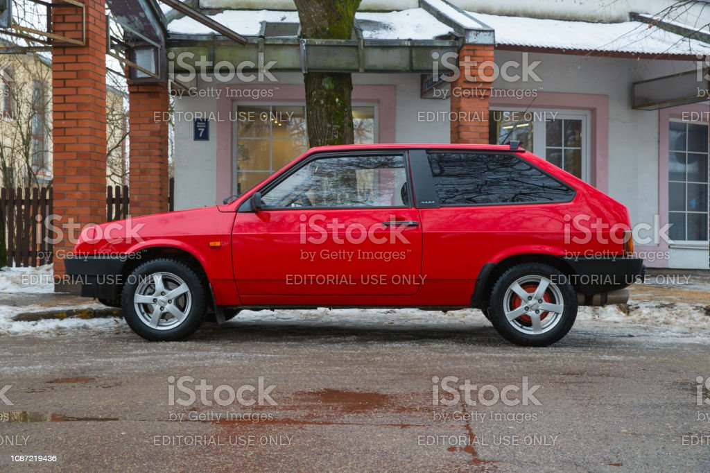 Red Lada Samara Old Made In Ussr Car At Street Urban Travel Photo